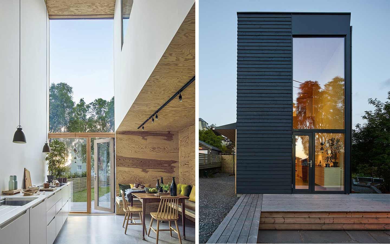 casa alta e stretta rivestita in legno