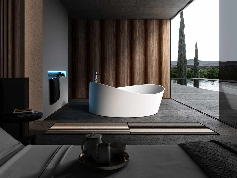 vasca da bagno freestanding in camera da letto