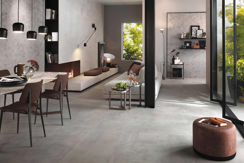 pavimento grigio effetto pietra