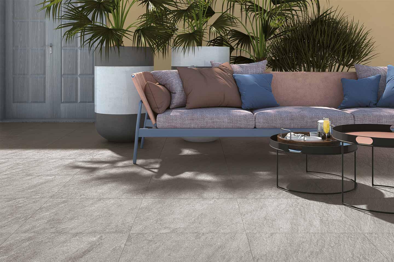 pavimento esterno gres effetto pietra grigio