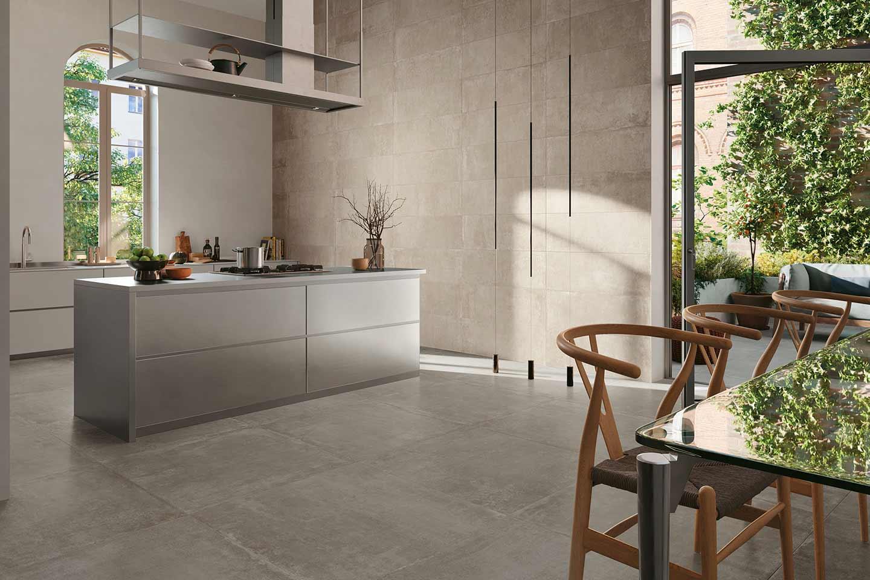 gres effetto pietra beige in cucina