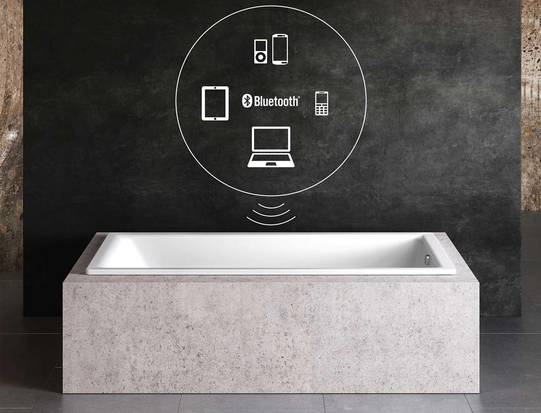vasca da bagno con cassa acustica