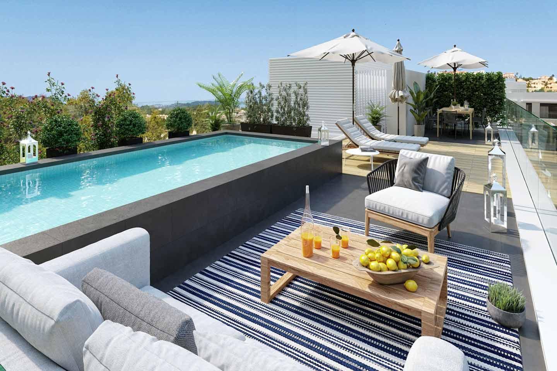 terrazza solarium con piscina