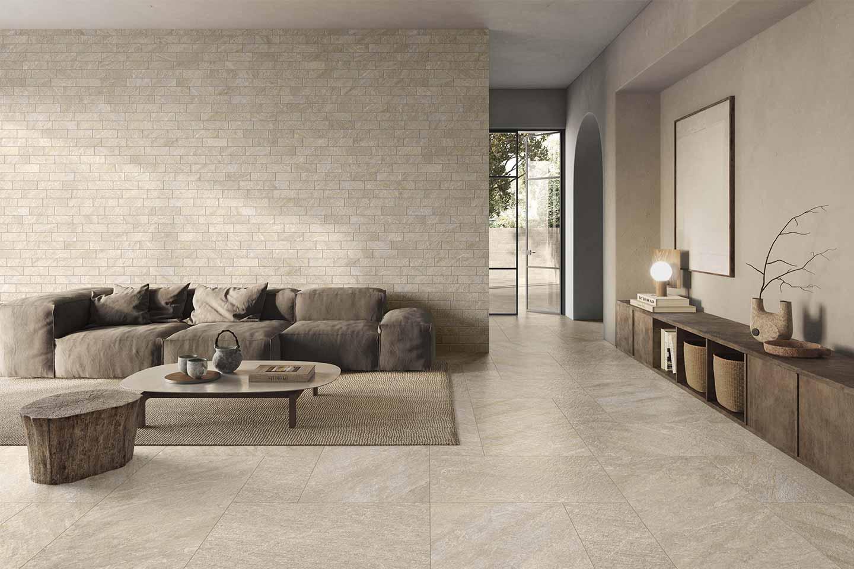 rivestimento parete living gres effetto pietra