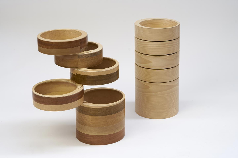 cassettiera tonda in legno