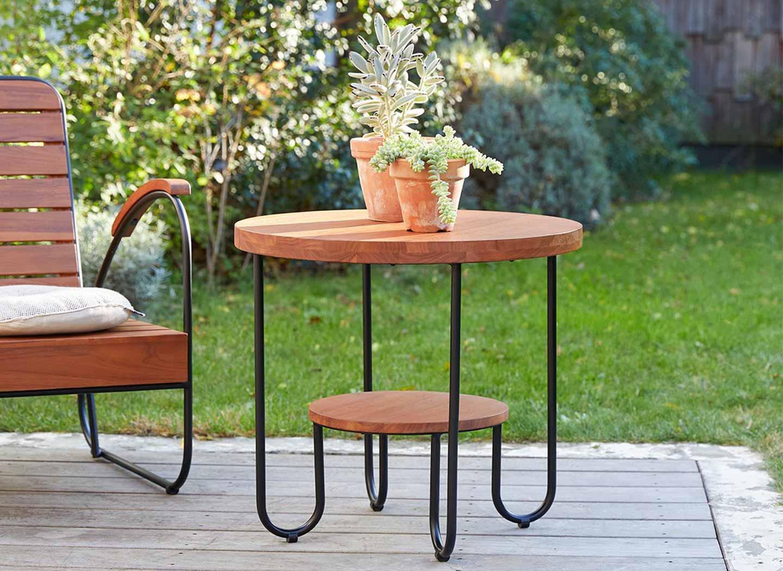 tavolino da caffè legno e metallo