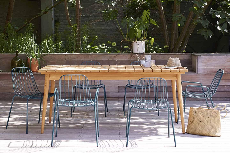 tavolo da giardino con sedue in metallo blu