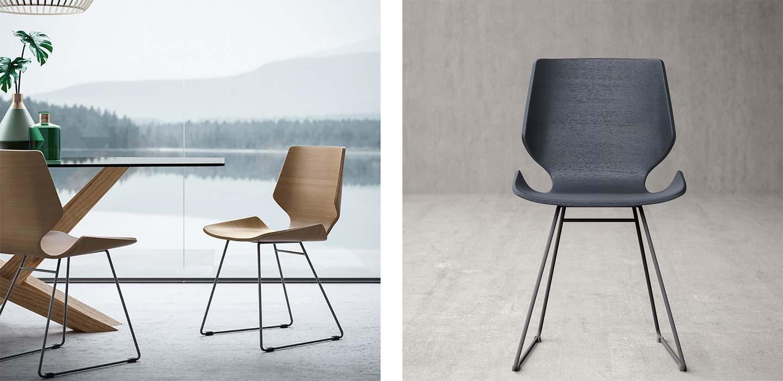 sedia living in metallo e legno