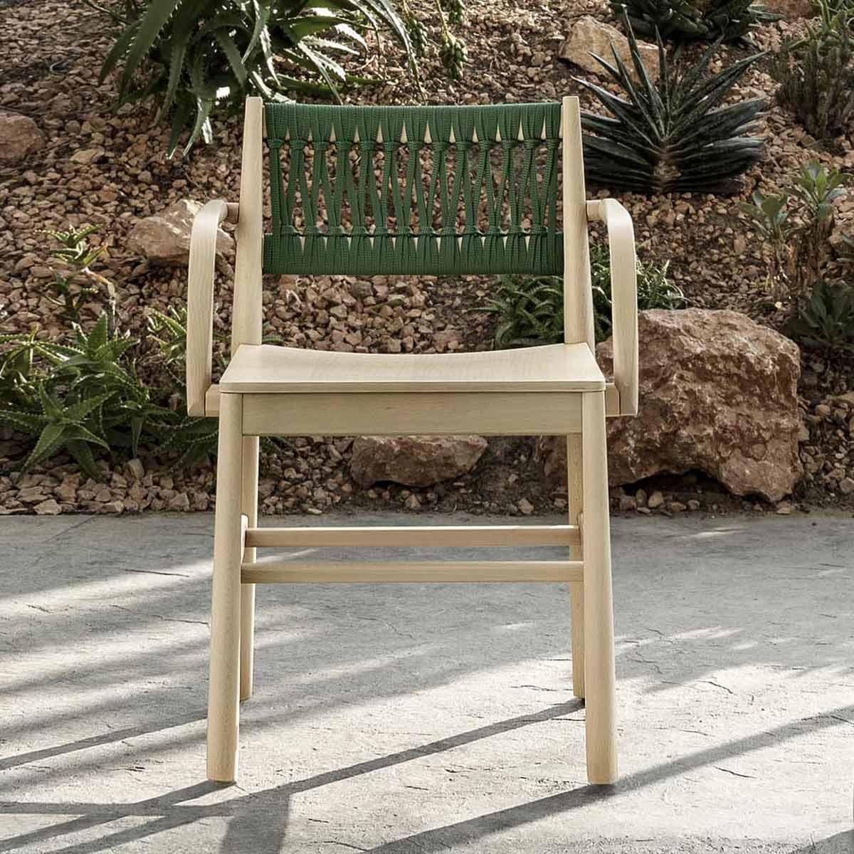 sedia in legno con schienale corda intrecciata