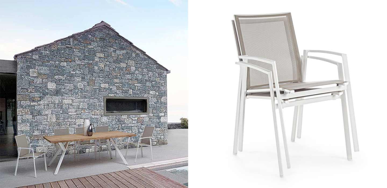 sedia da esterno impilabile in metallo e textilene