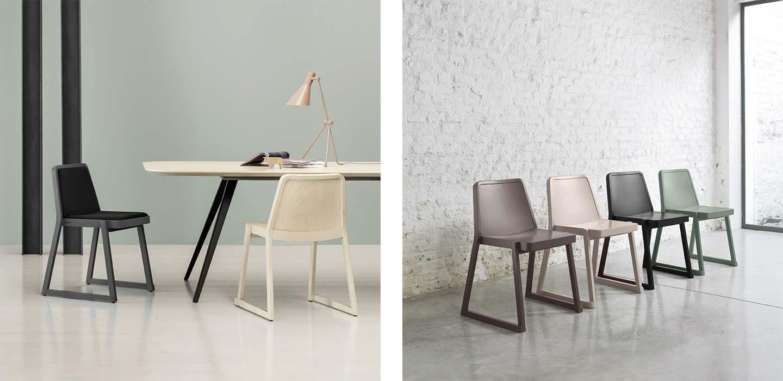 sedia impilabile in legno e rivestimento in velluto
