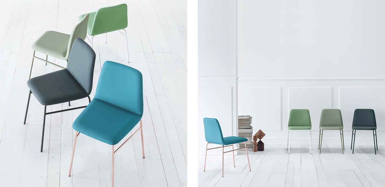 sedie colorate in metallo e seduta imbottita