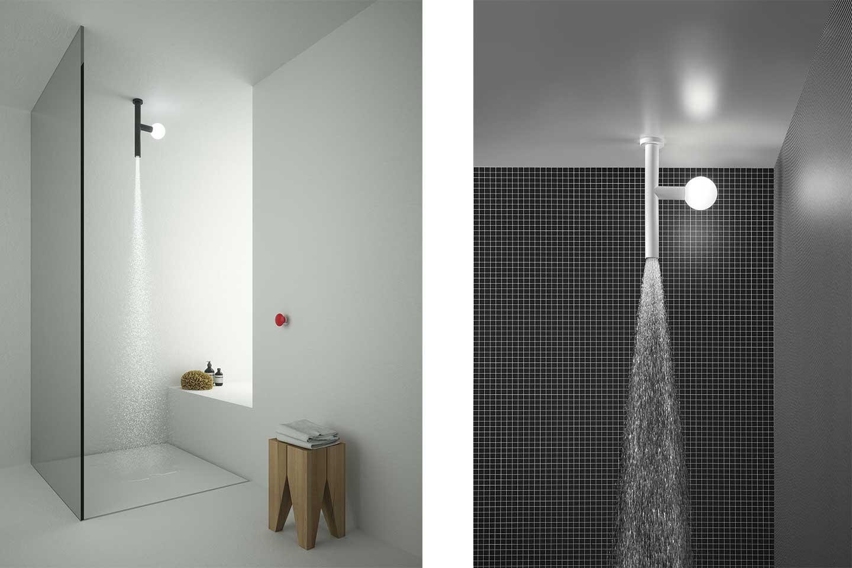 soffione doccia a soffitto con luce
