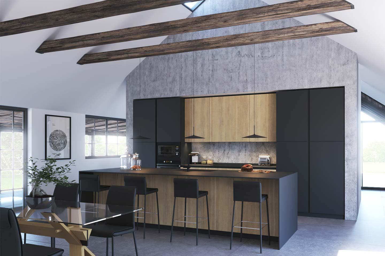 cucina in legno rovere e Fenix nero con isola snack centrale