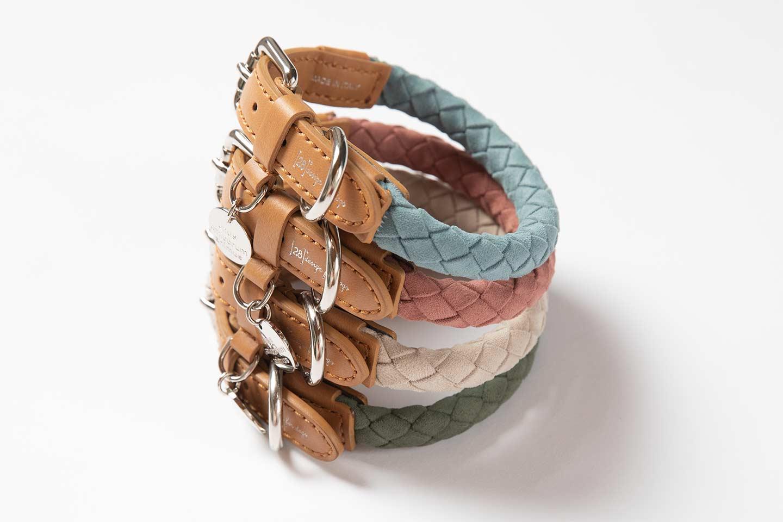 collari intrecciati colorati in materiale ecologico