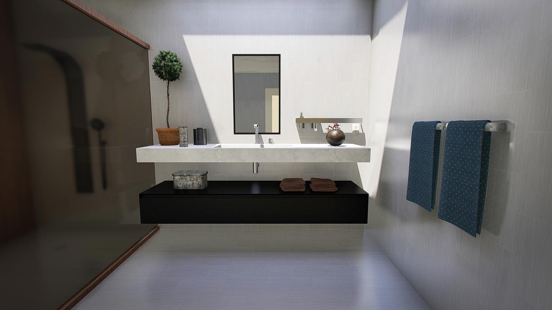 bagno con mobile lavabo sospeso